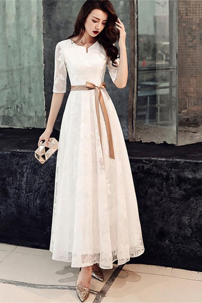 A Line Princess Half Sleeves Lace Skirt Long Prom Dresses Formal Evening Dress Party Gowns LD3115