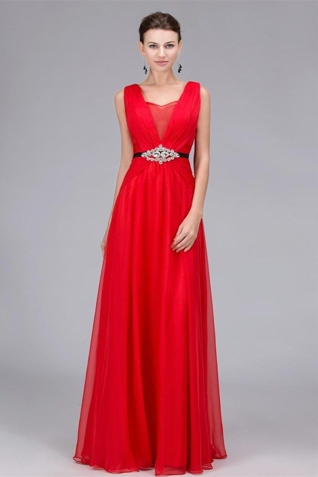 Empire Waist A Line V Neck Red Floor Length Prom Dresses Formal Evening Dress Party Gowns LD3118