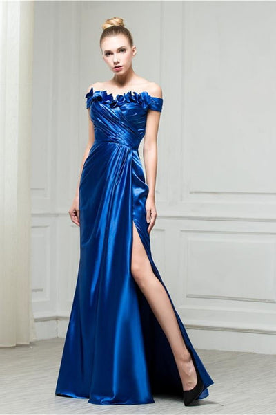 Chic Royal Blue Off the Shoulder Sheath Hand Flowers Long Prom Dresses Formal Evening Dress LD3119