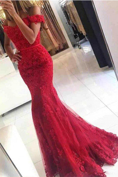 Fashion High Quaity Red Lace Mermaid Prom Dress Evening Gowns Graduation Dresses LD311