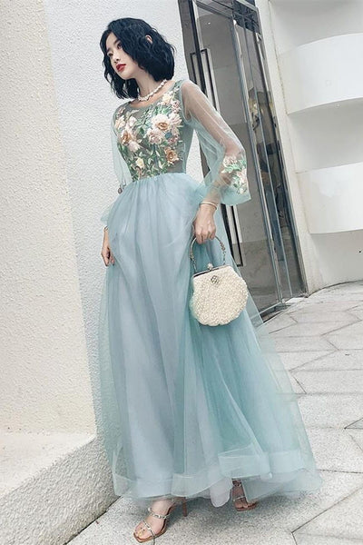 Charming Long Sleeves Appliques Light Blue Prom Dresses Formal Evening Dress Party Gowns LD3120