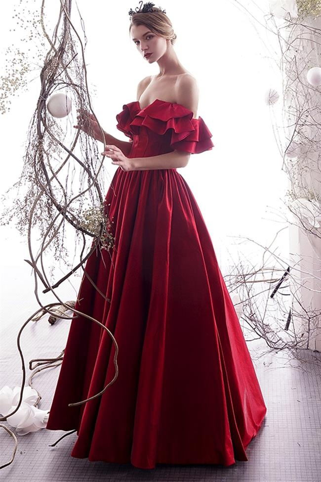 New A Line Off the Shoulder Burgundy Satin Prom Dresses Formal Evening Dress Party Gowns LD3121