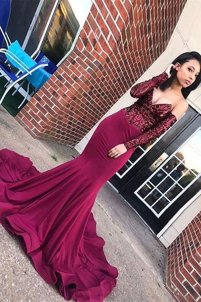Sexy Long Sleeves Burgundy Mermaid Sequin Long Prom Dresses Formal Evening Dress For Party LD3123