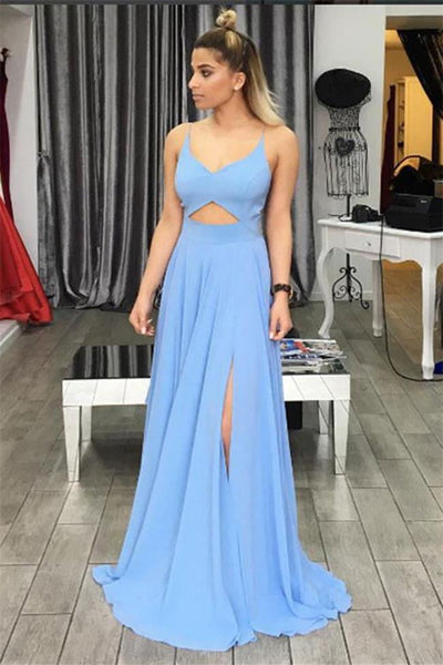 New Arrival Backless Light Blue Spaghetti Strap Prom Dresses Formal Evening Dress Party Gown LD3125