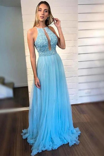 Light Blue Open Back Beaded Halter Long Prom Dresses Formal Evening Dress Party Gowns LD3126