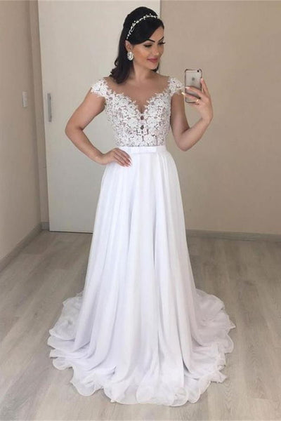 A Line Cap Sleeves White Lace Long Prom Dresses Formal Evening Dress Beach Wedding Dress LD3127