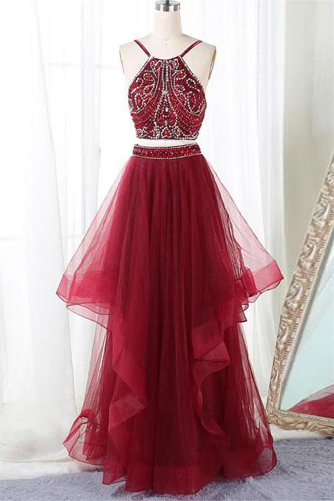 Two Piece Open Back Burgundy Beaded Tiered Skirt Prom Dresses Formal Evening Party Dress  LD3128