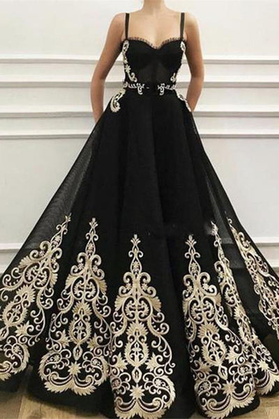 Fashion Spaghetti Straps Lace Appliques Black Prom Dresses Formal Evening Dress Party Gowns LD3129