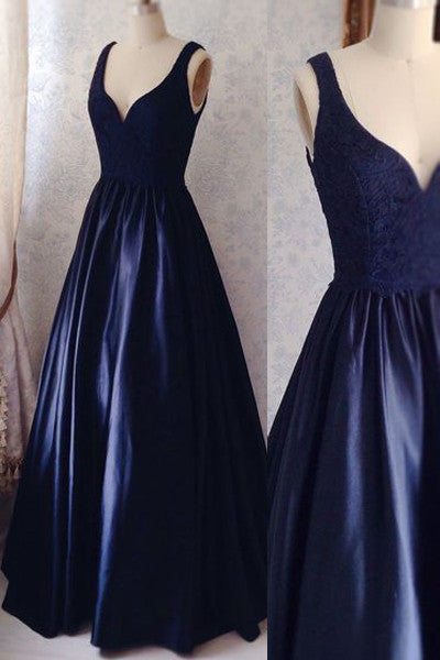 V Neck Off the Shoulder Dark Blue Lace Prom Dresses Evening Gowns Graduation Dress LD312
