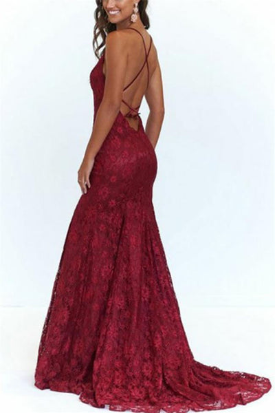 Burgundy Lace Mermaid Backless Spaghetti Straps Prom Dresses Formal Evening Dress Party Gown LD3131