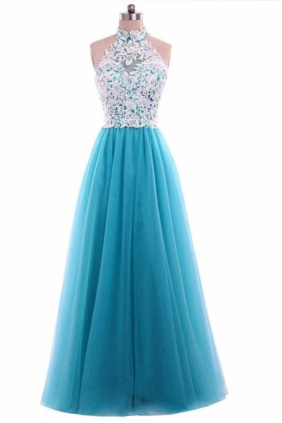 A Line Halter White Lace Mint Tulle Long Prom Dresses Formal Evening Dress Party Gowns LD3135
