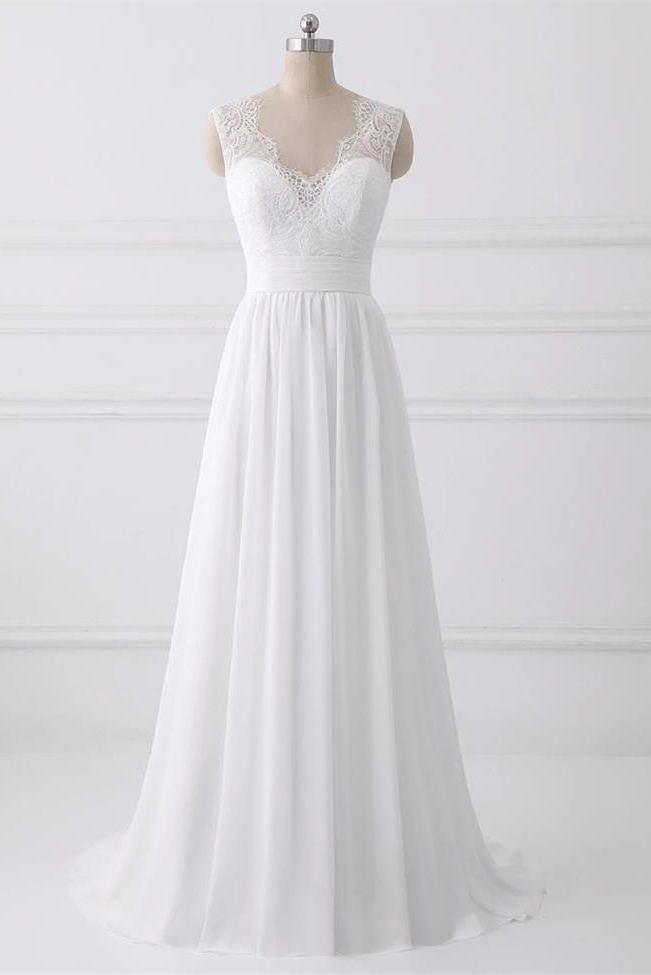 A Line V Neck White Lace Back V Long Prom Dresses Formal Bridal Wedding Dress Party Gowns LD3136