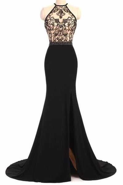 Spaghetti Straps Lace Black Mermaid Long Slit Prom Dresses Formal Evening Dress Party Gowns LD3137