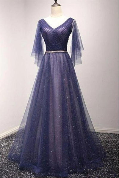 Fashion Real Photo A Line V Neck Long Sleeves Prom Dresses Formal Evening Dress Party Gowns LD3140