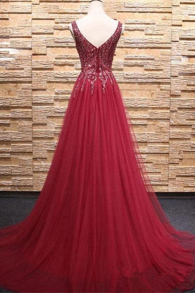 Top See Through V Neck Burgundy Beaded Long Prom Dresses Formal Evening Dress Party Gowns LD3141