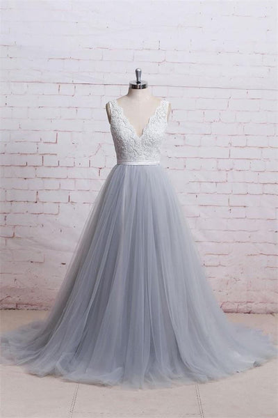 A Line V Neck White Lace Grey Blue Tulle Prom Dresses Formal Evening Dress Party Gowns LD3143