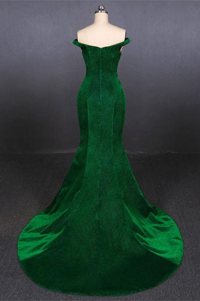 Elegant Off the Shoulder Mermaid Green Shiny Fabric Prom Dresses Formal Evening Dress Party LD3146