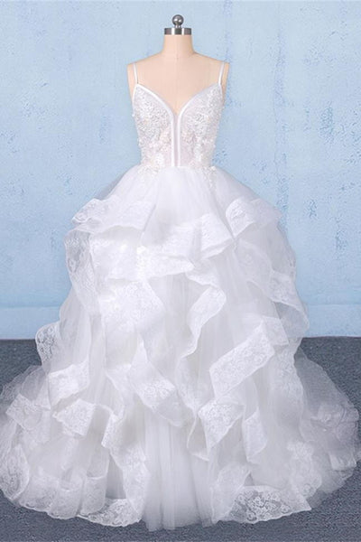 Real Photo Spaghetti Strap Tiered Skirt High Low Ball Gown Lace Wedding Dresses Bridal Dress LD3147