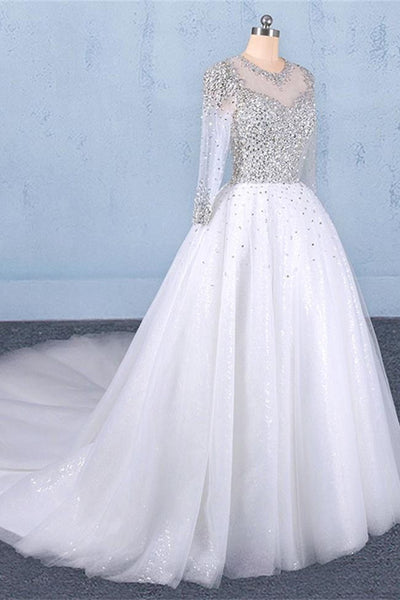 Long Sleeves High Neck Beaded Chapel Train White Princess Wedding Dresses Bridal Gown Dress LD3148