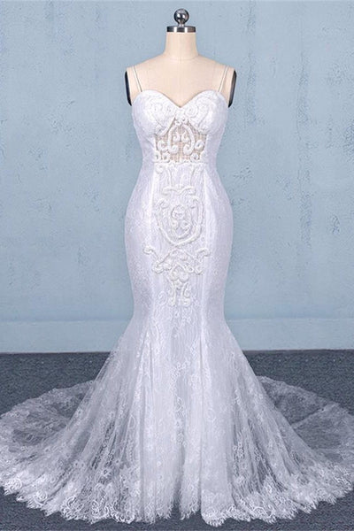 Fashion Spaghetti Straps White Lace Mermaid Chapel Train Beach Wedding Dresses Bridal Dress LD3149