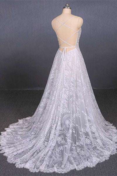 Open Back A Line Spaghetti Straps White Lace Long Beach Wedding Dresses Bridal Gown Dress LD3150