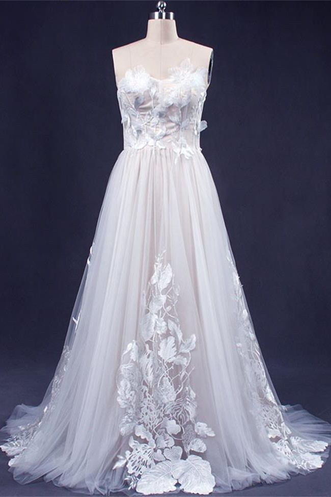 A Line Strapless 3D Lace Appliques White Princess Long Wedding Dresses Bridal Gown Dress LD3151