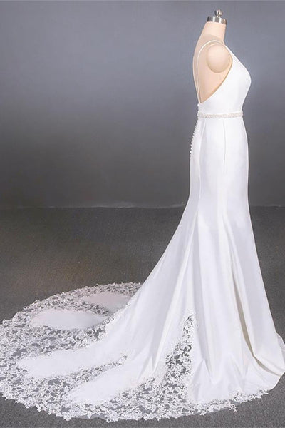 Fashion Open Back Spaghetti Straps White Lace Mermaid Beach Wedding Dresses Bridal Dress LD3152