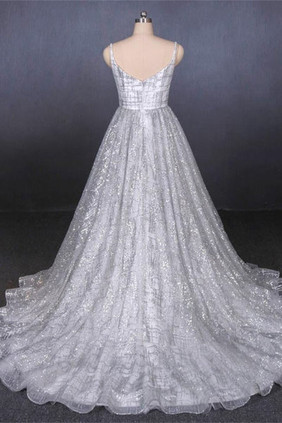 Silver Glitter Sequin Spaghetti Straps V Neck Long Wedding Dresses Bridal Gown Prom Dress LD3153