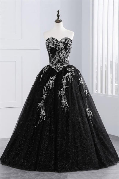 Black Ball Gown Strapless White Appliques Sequin Prom Dresses Evening Quinceanera Dress LD3155