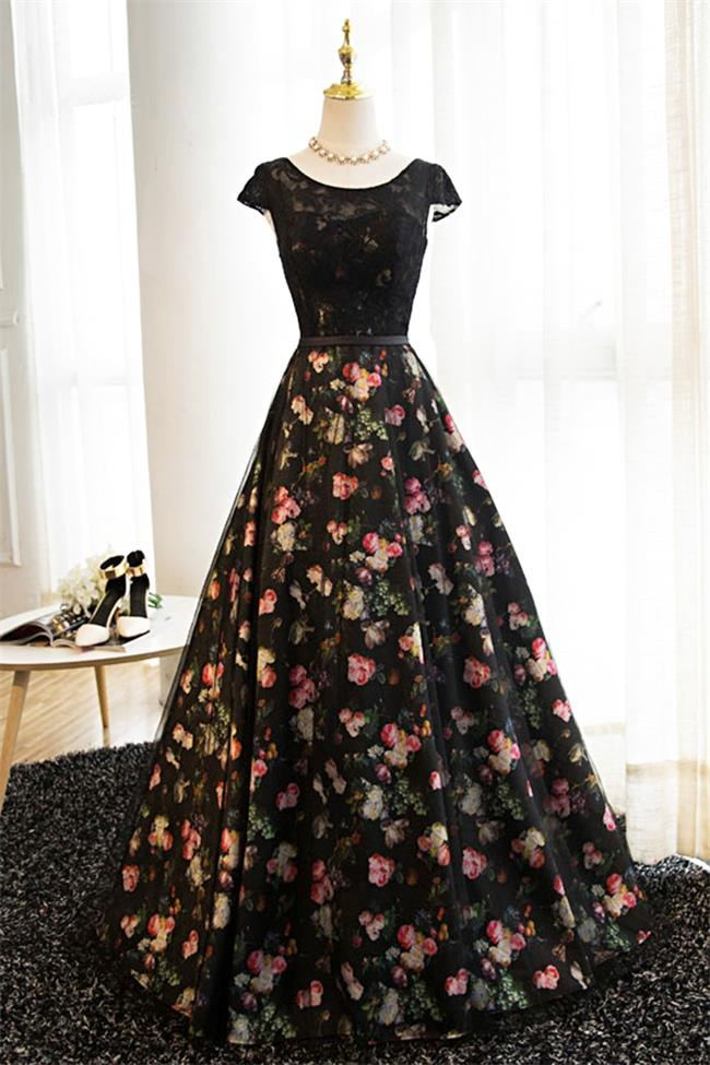 Lace Black Ball Gown Cap Sleeves Printed Fabric Formal Prom Dresses Evening Party Dress LD3156