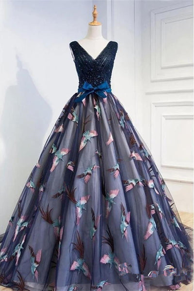New Arrival 3D Bird V Neck Dark Blue Pearls Formal Prom Dresses Evening Quinceanera Dress LD3157