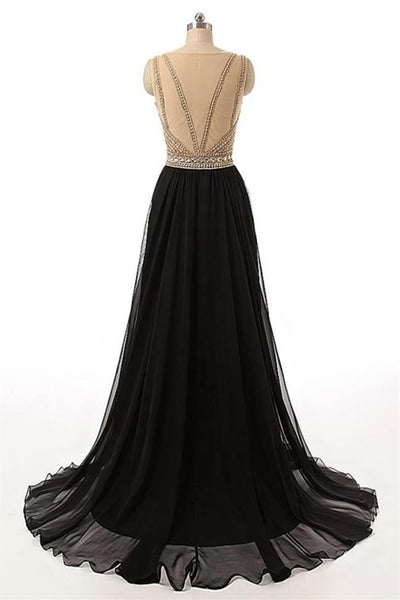 Fashion Open Back Crystal Beaded Black Long Prom Dresses Formal Evening Dress Party Gowns LD3158