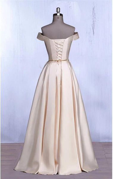 Elegant Off the Shoulder Satin Long Prom Dresses Formal Evening Gowns Bridesmaid Dress LD3159