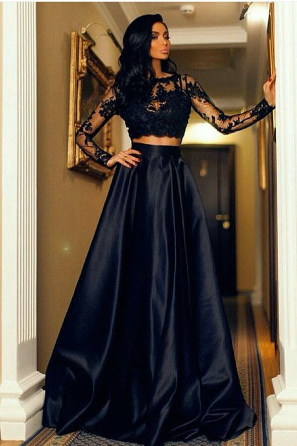 Two Pieces Long Sleeves Black Lace Evening Prom Dresses Party Gowns Graduation Dress LD315