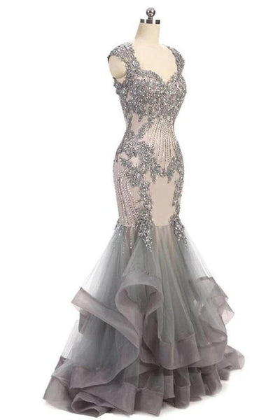 Open Back Lace Appliques Grey Mermaid Tiered Prom Dresses Formal Evening Gowns Dress LD3160