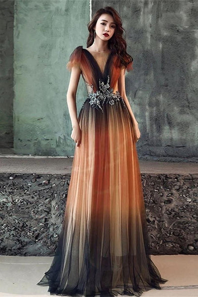 2020 New Ombre Tulle Open Back V Neck Prom Dresses Formal Evening Dress Party Gowns LD3162