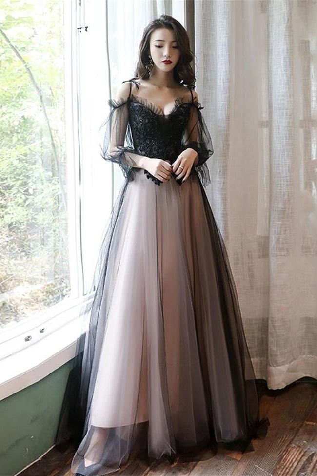 2020 New Arrival Long Sleeves Lace Black Straps Prom Dresses Formal Evening Dress Party Gown LD3163