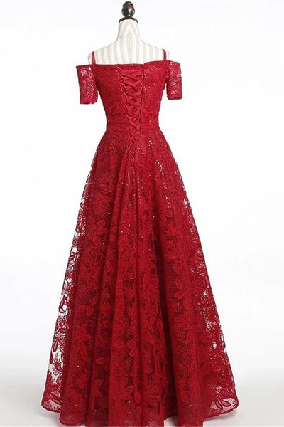 Chic Short Sleeves Burgundy Lace Straps Long Prom Dresses Formal Evening Dress Party Gowns LD3164
