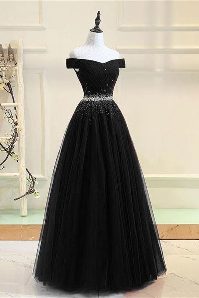Charming A Line Off the Shoulder Beaded Black Prom Dresses Formal Evening Dress Party Gowns LD3165