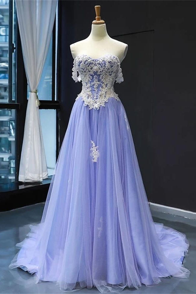 Fashion Light Lavender Tulle White Lace Prom Dresses Formal A Line Evening Dress Party Gowns LD3166
