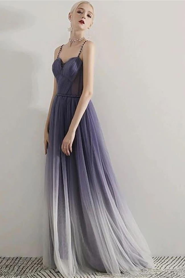 New Arrival Spaghetti Straps Ombre Tulle See Through Prom Dresses Formal Evening Dress Party LD3167