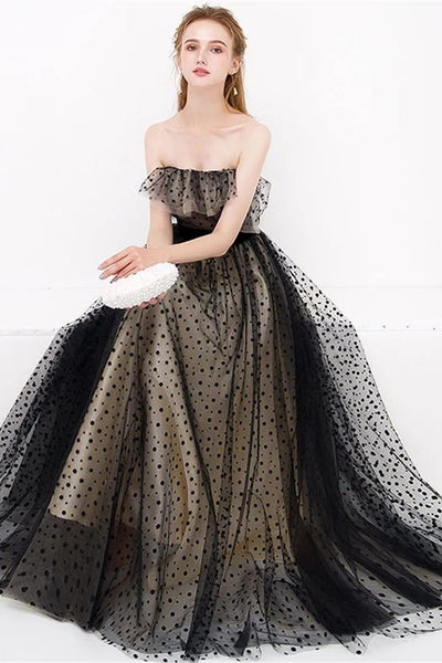 New Design A Line Strapless Black Long Formal Prom Dresses Evening Dress Party Gowns LD3168