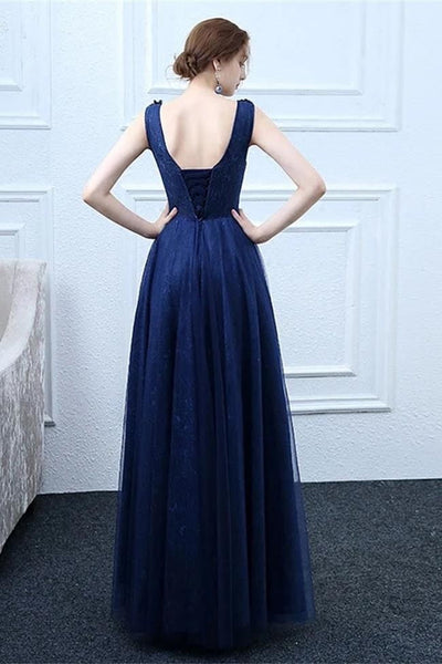 Fashion A Line Appliques Dark Blue Lace Long Prom Dresses Formal Evening Dress Party Gowns LD3169