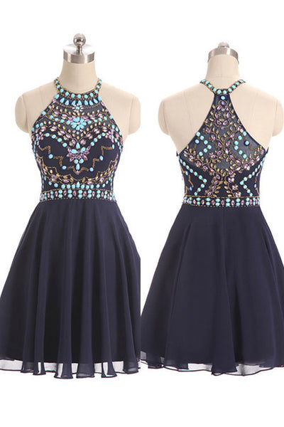 Fashion Navy Blue Chiffon Rhinestone Short Prom Dress Homecoming Dresses Party Gowns LD316