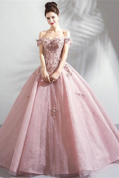 Wedding Off Shoulder Pink Lace 3D Flowers Ball Gown Prom Dresses Evening Quinceanera Dress LD3170