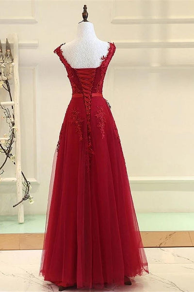 Stunning Burgundy Lace Appliques Long Prom Dresses Formal A Line Evening Dress Party Gowns LD3171