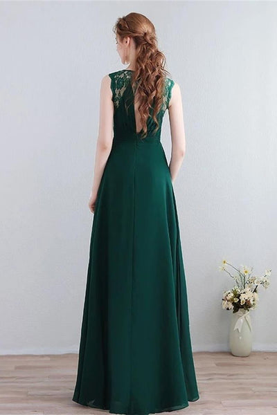 Elegant Open Back Green Lace Long Prom Dresses Formal Bridesmaid Dress Evening Gowns LD3172