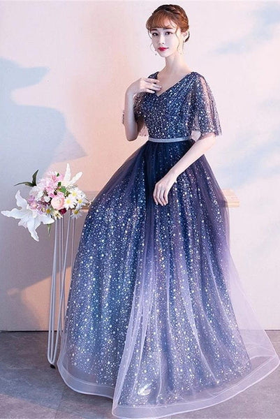 New Design Blue Ombre/Gradient Tulle Half Sleeves Prom Dresses Formal Evening Dress For Party LD3173