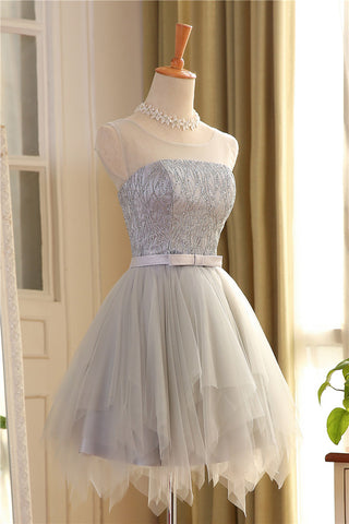 New 2017 Silver Tulle Tiered Skirt Homecoming Dresses Short Prom Graduation Dress LD317