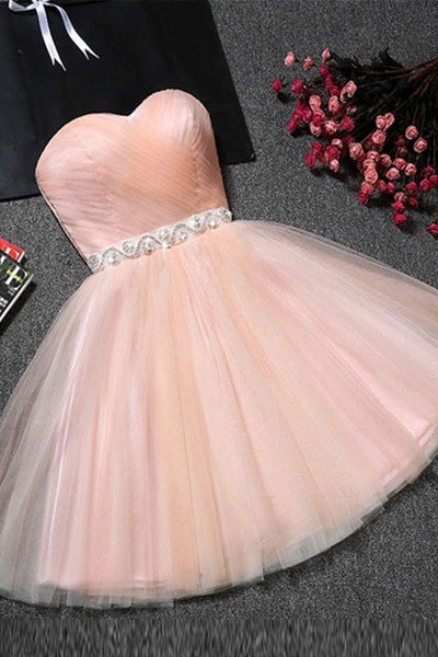 Charming Sweetheart Blush Pink Short Cheap Prom Dress Homecoming Dresses LD318